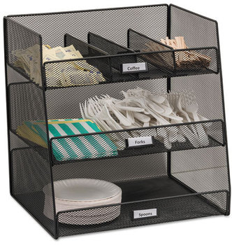 Picture of item SAF-3293BL a Safco® Onyx™ Breakroom Organizers,  3 Compartments,14.625x11.75x15, Steel Mesh, Black