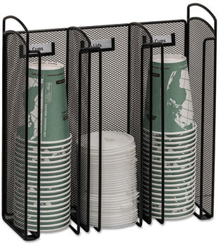 Picture of item SAF-3292BL a Safco® Onyx™ Breakroom Organizers,  3Compartments, 12.75x4.5x13.25, Steel Mesh, Black