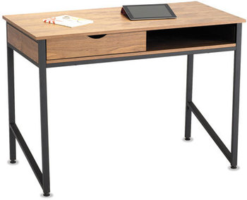 Picture of item SAF-1950BL a Safco® Single Drawer Office Desk,  43 1/4 x 21 5/8 x 30 3/4, Natural/Black