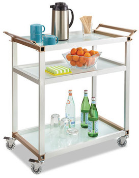Picture of item SAF-8969SL a Safco® Large Refreshment Cart,  Three-Shelf, 32w x 16 3/4d x 35h, Silver