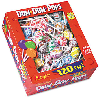 Picture of item SPA-66 a Spangler® Dum-Dum-Pops,  Assorted Flavors, Individually Wrapped, 120 Count Box