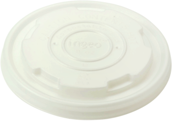 Picture of item WCC-BOLCS8 a Ingeo™ Compostable Lid.  Fits 6 oz, 8 oz. Paper Bowls.  White Color.  50 Lids/Sleeve, 20 Sleeves/Case.