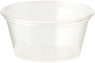 Picture of item WCC-CPCS2S a Biodegradable Ingeo™ Souffle Cup.  2 oz.  Clear Color.  100 Cups/Sleeve, 20 Sleeves/Case.