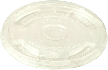 Picture of item WCC-CPLCS12 a Biodegradable Ingeo™ Lid.  Fits 10 oz. to 24 oz. Cold Cups.  Flat Lid with Straw Hole.  100 Lids/Sleeve, 10 Sleeves/Case.