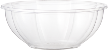 Ingeo™ Compostable Salad Bowl.  24 oz.  Clear Color.  50 Bowls/Sleeve, 12 Sleeves/Case.