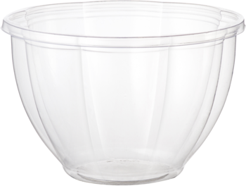 Picture of item WCC-SBCS48 a Ingeo™ Compostable Salad Bowl.  48 oz.  Clear Color.  50 Bowls/Sleeve, 6 Sleeves/Case.