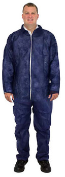 Polypropylene Coveralls. Size 2 XL. Blue. 25 count.